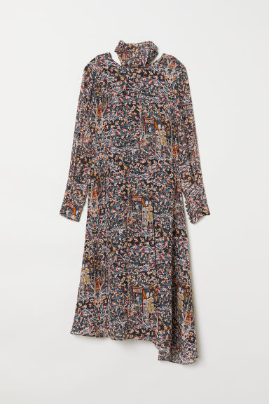 Patterned silk dress - Dark blue/Patterned -  | H&M