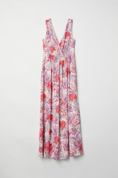 Long V-neck dress - Powder pink/Floral - Ladies | H&M