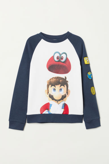 Printed sweatshirt - Dark blue/Super Mario - Kids | H&M