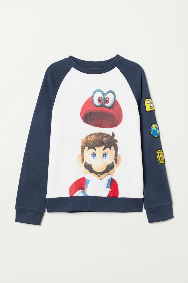 25a35d6ff Camisola sweat com estampado - Azul escuro Super Mario - CRIANÇA ...