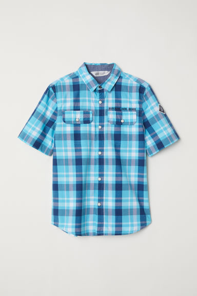 Short-sleeved shirt - Turquoise/Checked - Kids | H&M
