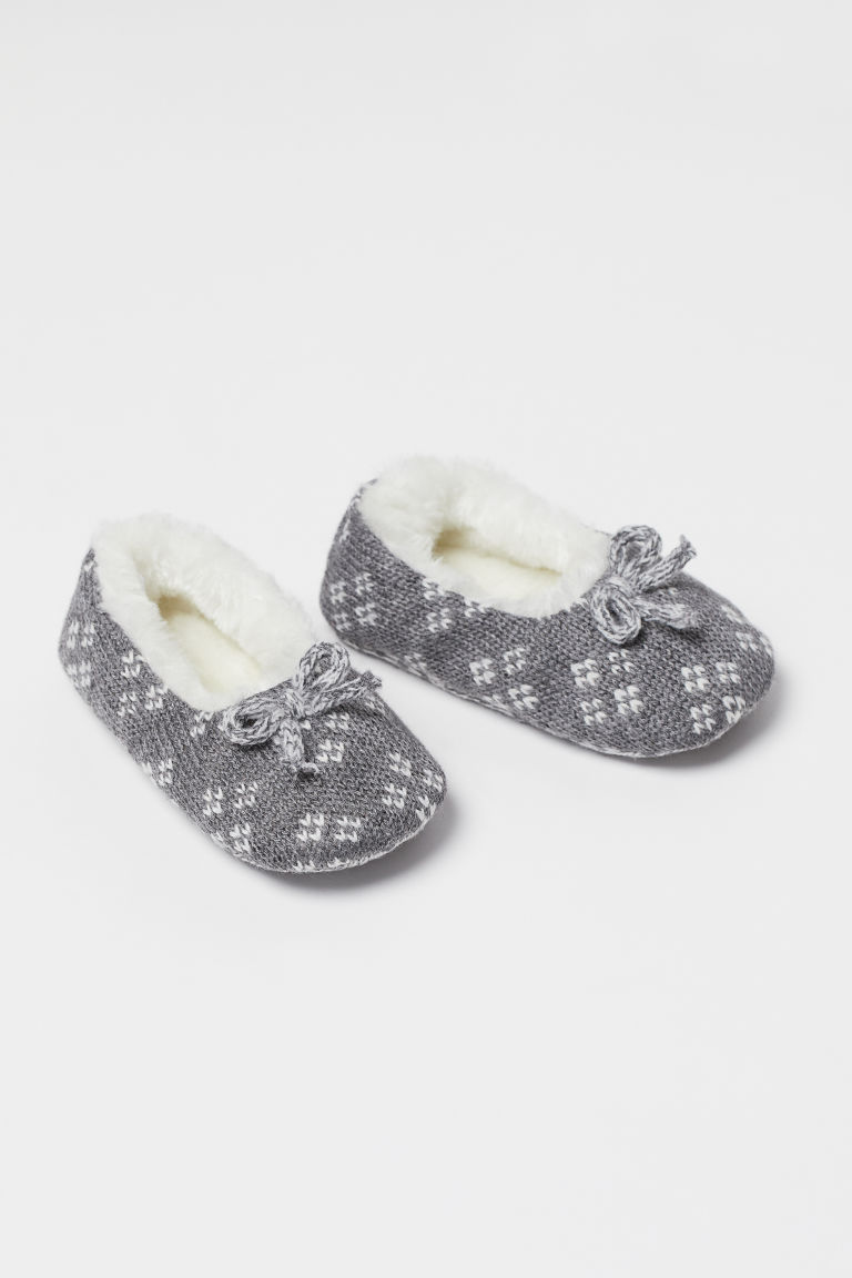 Jacquard-knit Slippers - Gray melange - Kids | H&M CA