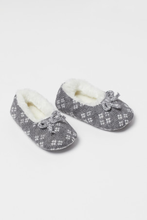 Jacquard-knit slippers