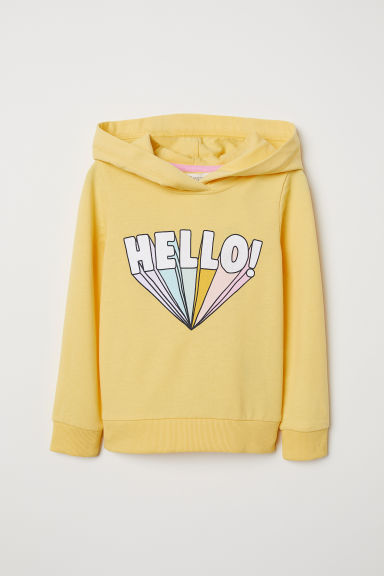 Printed hooded top - Yellow/Hello - Kids | H&M