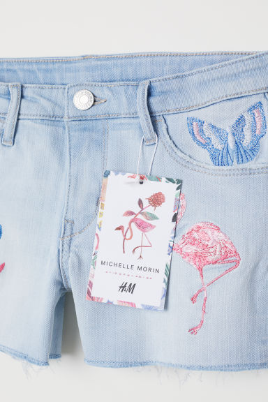 Embroidered denim shorts - Light blue denim - Kids | H&M