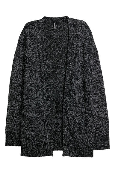Knitted cardigan - Black marl -  | H&M