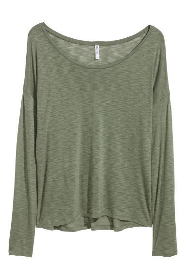 Jersey top - Dark khaki green - Ladies | H&M
