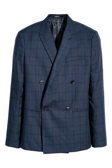 Jacket Slim fit - Dark blue/Black checked -  | H&M CN