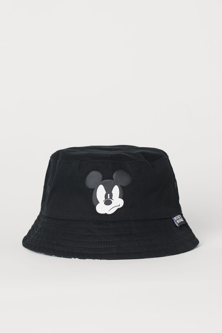 Printed sun hat - Black/Mickey Mouse - Kids | H&M IE