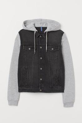 08d7d1092417 Hooded Denim Jacket - Denim blue gray -