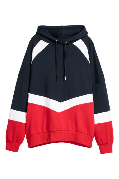 Printed hooded top - Dark blue/Block-coloured - Ladies | H&M CN