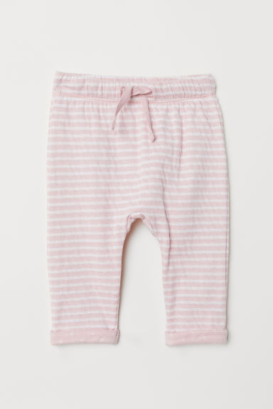 Bonded jersey trousers - Light pink/White striped - Kids | H&M