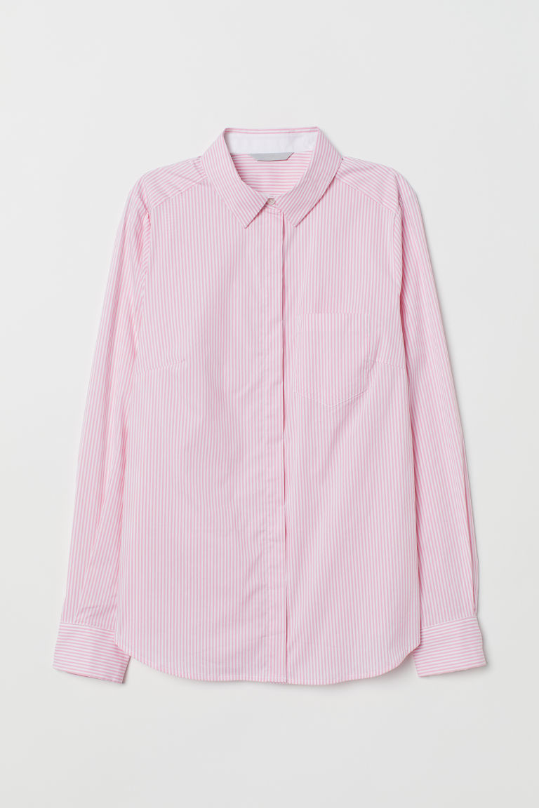 Fitted shirt - Light pink/White striped - Ladies | H&M