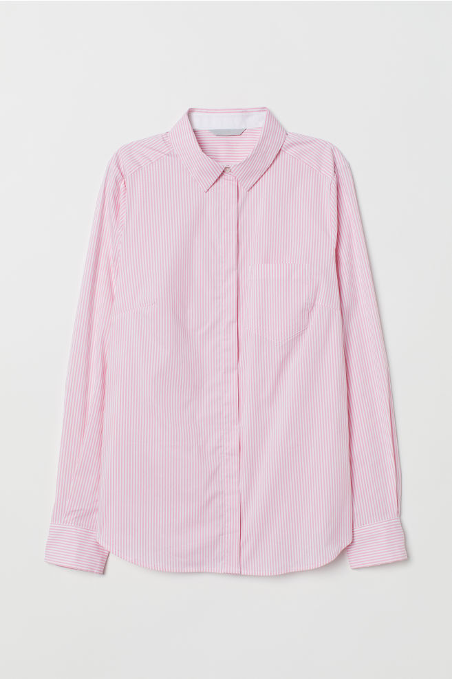 8a6798f7 Fitted Shirt - Light pink/white striped - Ladies | H&M ...