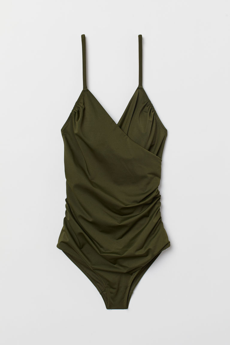 Shaping Swimsuit - Dark khaki green -  | H&M US