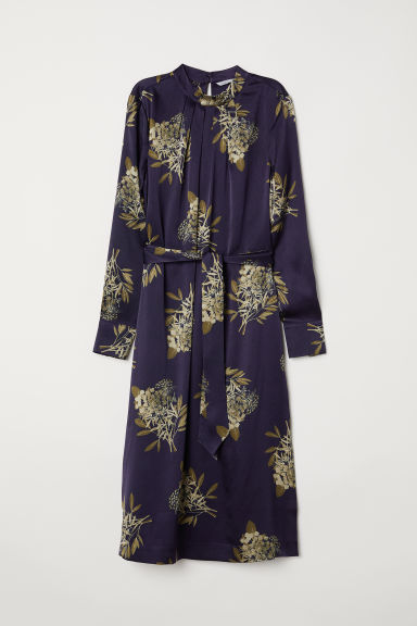 Silk satin dress - Dark blue/Patterned - Ladies | H&M CN
