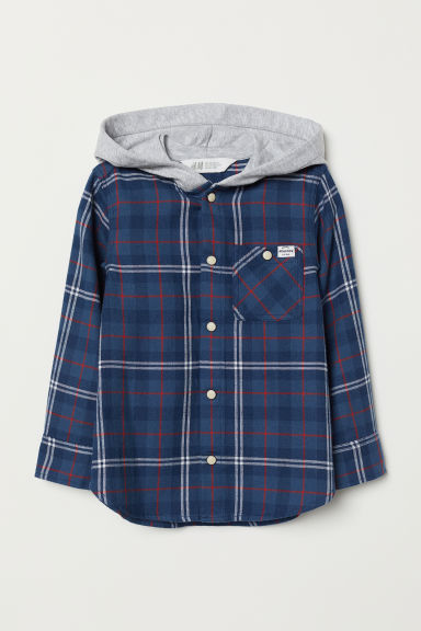 Hooded shirt - Dark blue/Grey marl - Kids | H&M