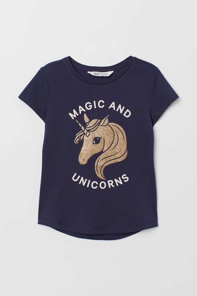 T-shirt with Printed Design - Dark blue/unicorn - Kids | H&M US