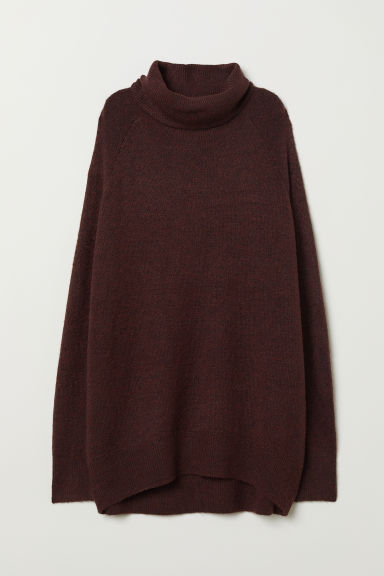 Knitted polo-neck jumper - Dark red marl - Ladies | H&M