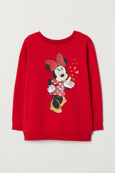 Long-sleeved top - Red/Minnie Mouse - Kids | H&M