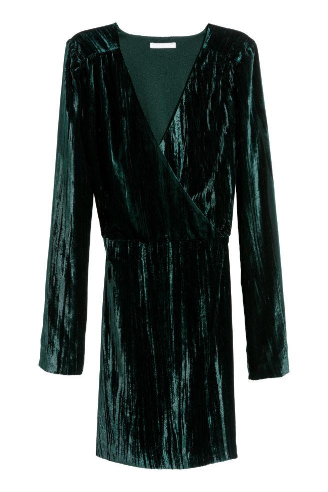 09ebd610 Kjole i nervøs fløyel - Mørk grønn - DAME | H&M ...