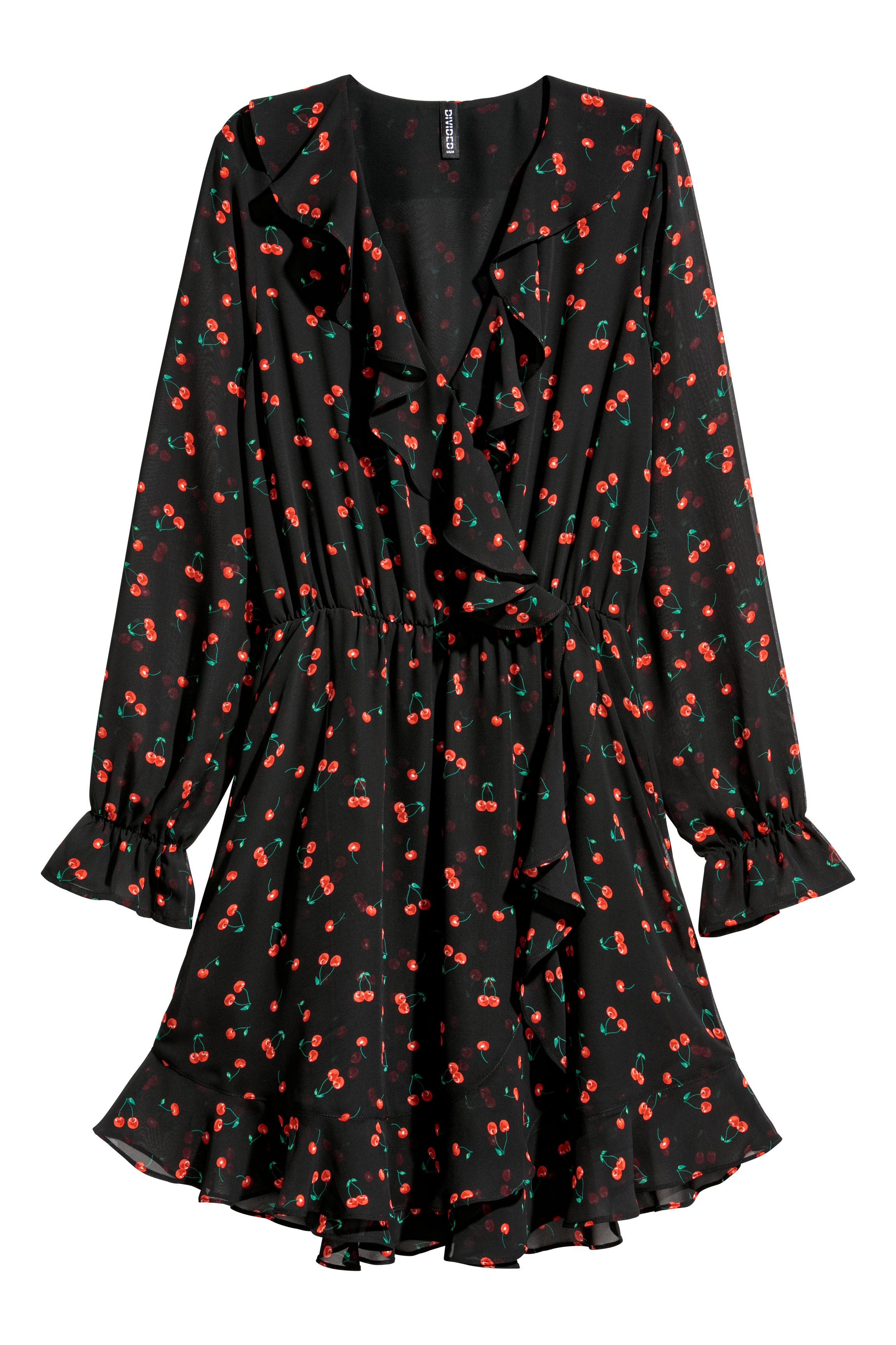 72c26348a09 Vestido cruzado - Negro Cerezas -