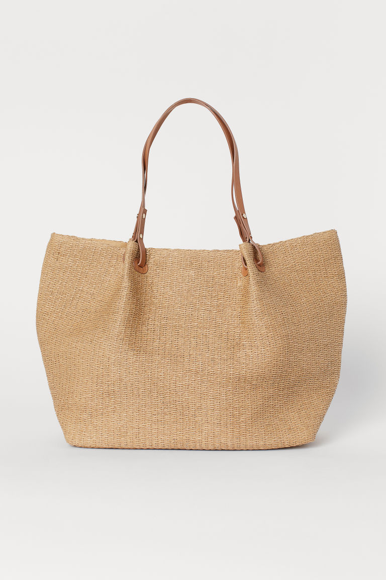 Paper straw shopper - Beige/Straw - Ladies | H&M IN