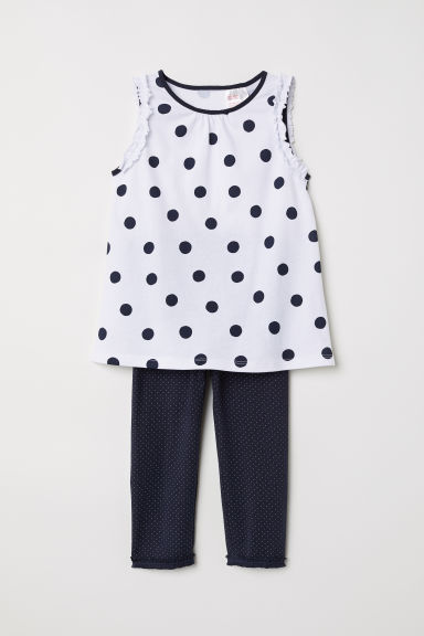 Pigiama in jersey - Bianco/pois -  | H&M IT