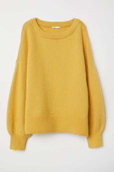 Knitted mohair-blend jumper - Dark yellow - Ladies | H&M CN