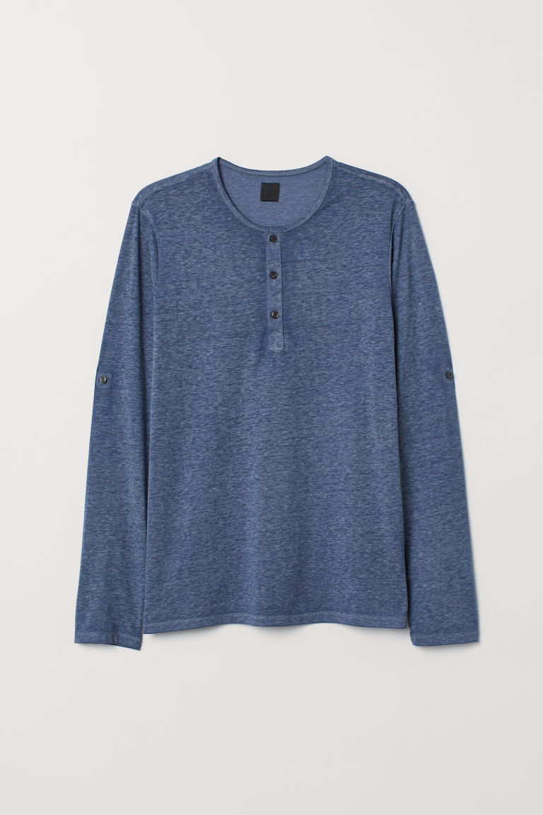 Slub Jersey Henley Shirt - Blue melange - Men | H&M US