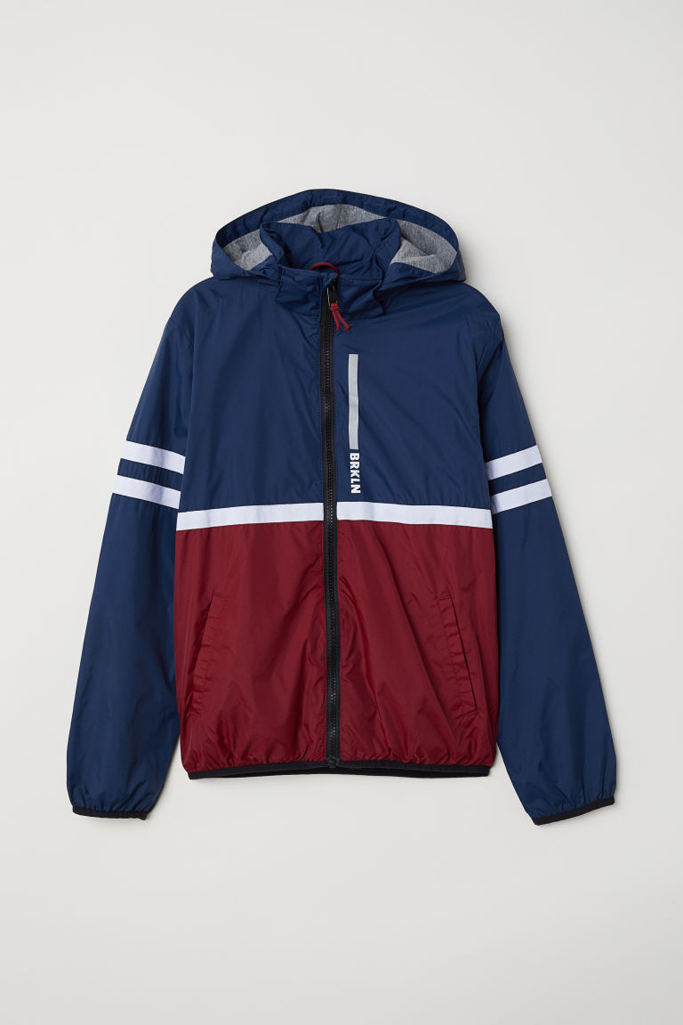 Outdoorjas met fleece voering - Donkerblauw/bordeauxrood - KINDEREN | H&M BE