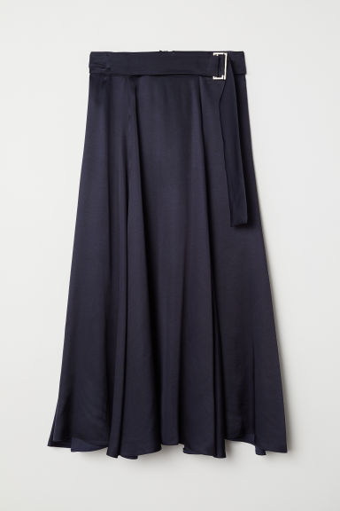 Bell-shaped skirt with a belt - Dark blue - Ladies | H&M