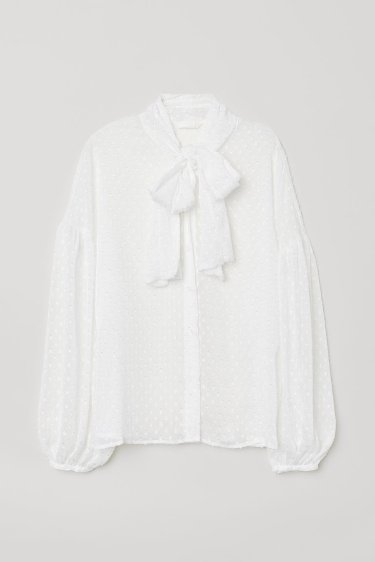 Pussy-bow blouse - White - Ladies | H&M