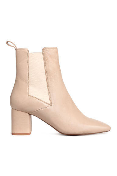 Leather ankle boots - Light beige - Ladies | H&M CN