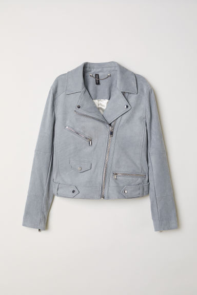 Imitation suede biker jacket - Grey-blue -  | H&M CN