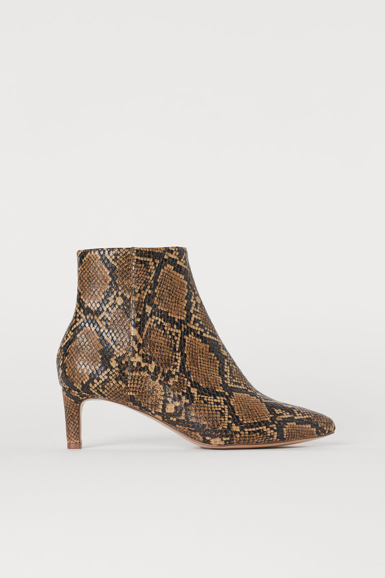 Pointed ankle boots - Brown/Snakeskin-patterned - Ladies | H&M GB