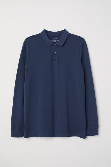 Long-sleeved polo shirt - Dark blue - Men | H&M CN