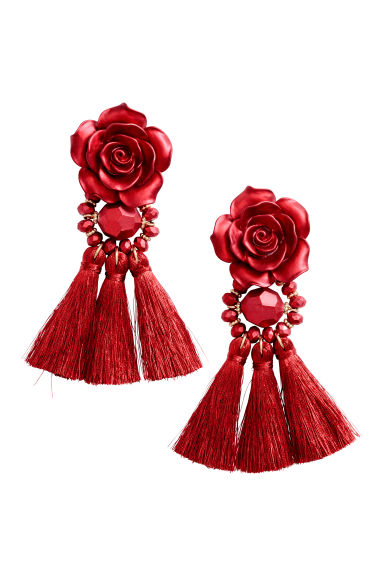 Tasselled earrings - Red - Ladies | H&M