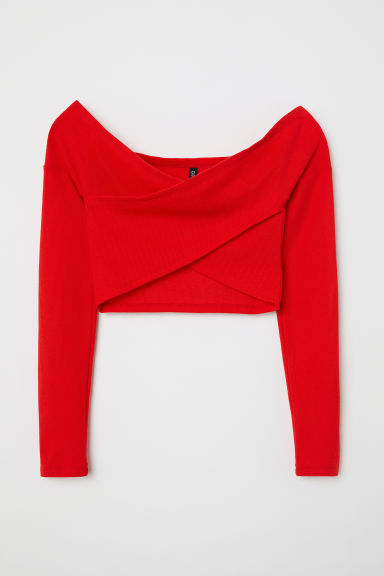 Off-the-shoulder wrapover top - Bright red - Ladies | H&M CN