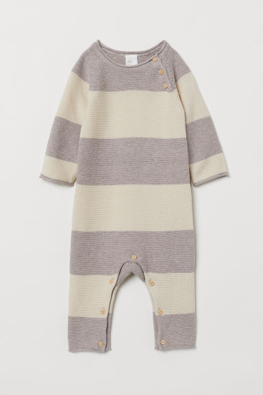 Fine-knit all-in-one suit - Light beige/Striped - Kids | H&M CN