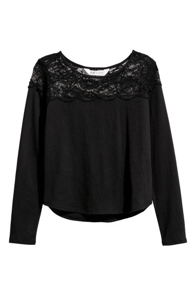 Jersey top with a lace yoke - Black -  | H&M CN