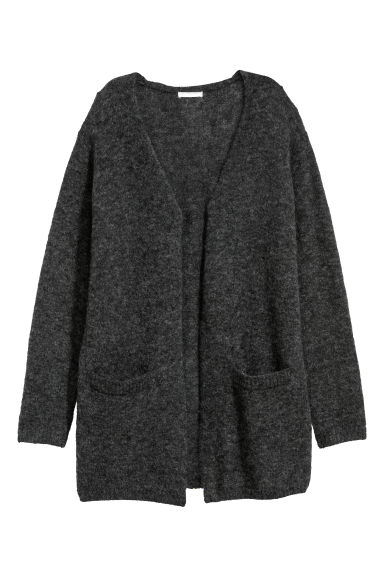 Mohair-blend cardigan - Black marl - Ladies | H&M GB