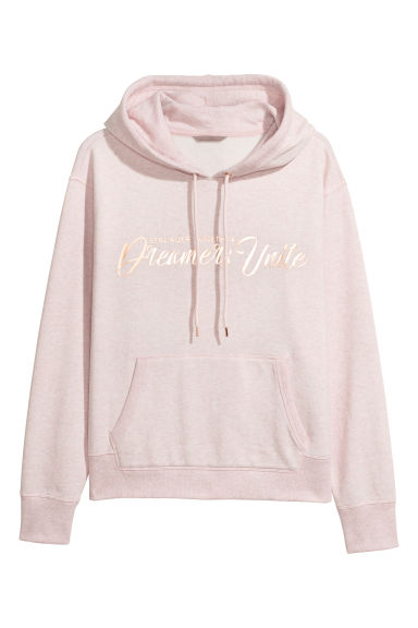 H&M+ Printed hooded top - Light pink/Stronger Together -  | H&M