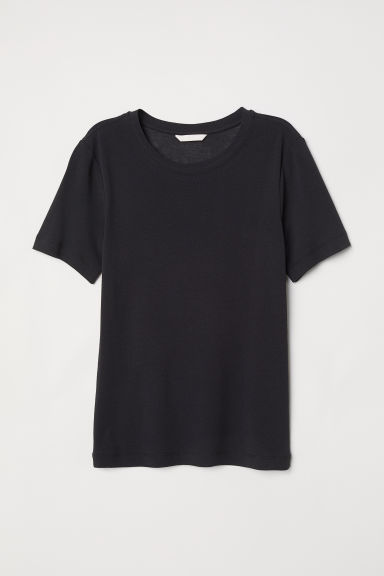 Cotton T-shirt - Black -  | H&M