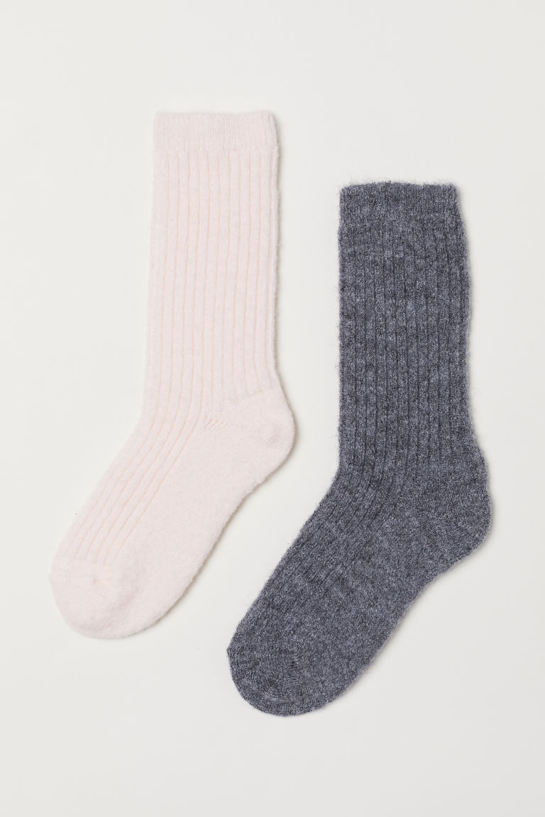 2-pack mohair-blend socks - Light pink/Dark grey - Ladies | H&M