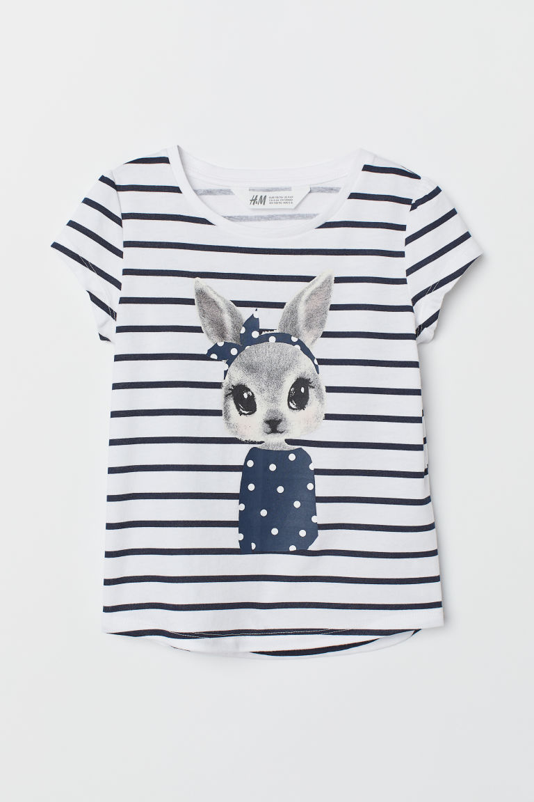Printed jersey top - White/Rabbit - Kids | H&M