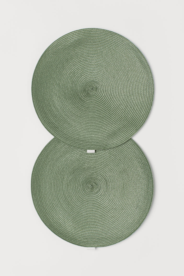2-pack straw table mats - Green - Home All | H&M CN