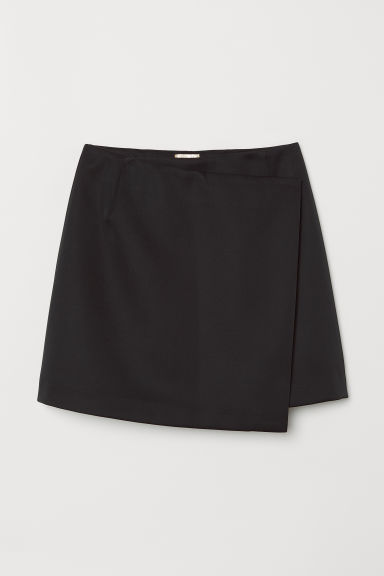 Short wrapover skirt - Black - Ladies | H&M