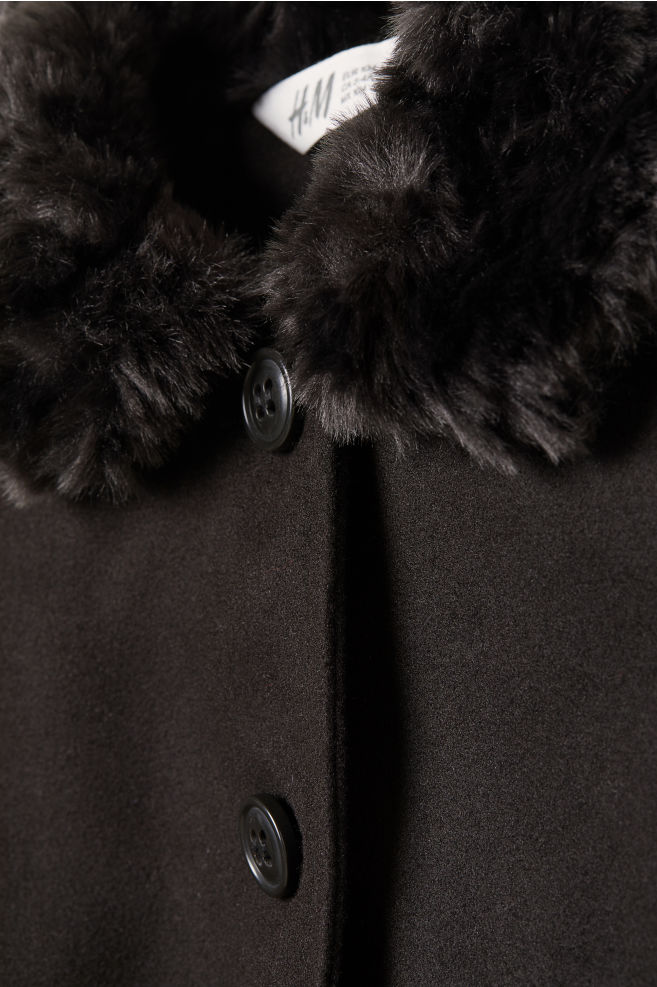 cff2ad77a Coat with faux fur - Black - Kids | H&M ...