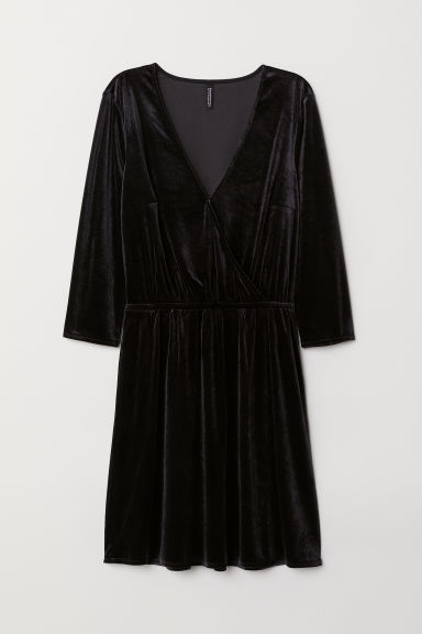 Velvet wrap dress - Black -  | H&M